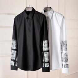 100590 빈티지 소매라인 히든버튼 셔츠 (2Color)