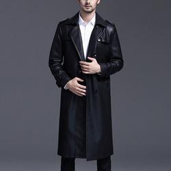 100638 미니멀 베이직라인 레더 코트 (Black)