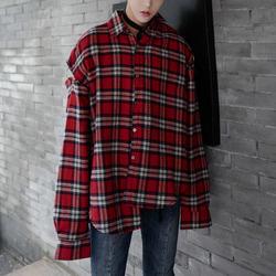 100753 절개 소매라인 타탄체크 셔츠 (Red)