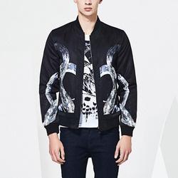 100895 미니멀 스네이크 패턴 집업 블루종 점퍼 (Black)