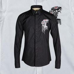 100922 미니멀 플라워 자수라인 히든버튼 셔츠 (2Color)