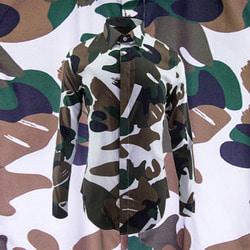 100924 VA 하이엔드 카무플라주 히든버튼 셔츠 (Khaki)