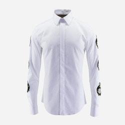 100943 AC 플라워 소매패치 라인 히든버튼 셔츠 (2Color)