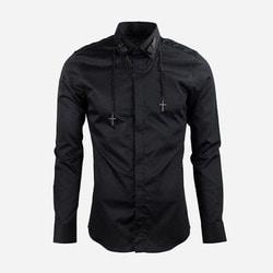 100945 크로스 네크리스 히든버튼 셔츠 (2Color)