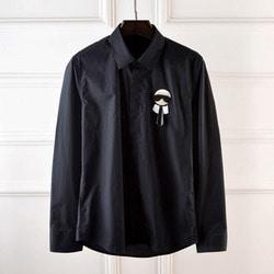 100954 미니멀 캐릭터 패치라인 셔츠 (2Color)