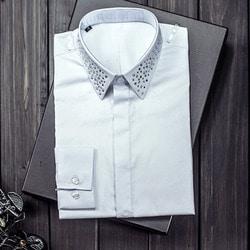 100955 핫피스 카라 히든버튼 셔츠 (2Color)