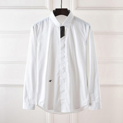 100995 DI 앞배색 히든버튼 셔츠 (White)