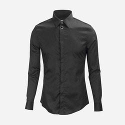 100998 미니멀 스타포인트 히든버튼 셔츠 (2Color)