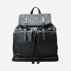 101339 유니크 체크 투포켓 레더 백팩 (Black)