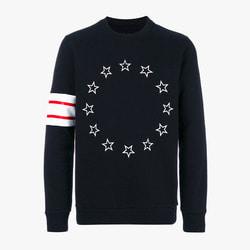 101340 별 소매나염 맨투맨 티셔츠 (Black)