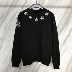 101355 GI 넥라인 별프린팅 맨투맨 티셔츠 (Black)