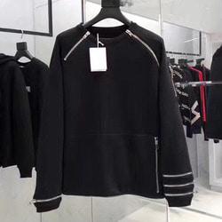 101461 미니멀 지퍼라인 MA-1소매 맨투맨 티셔츠 (Black)