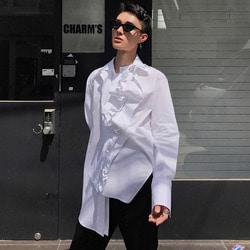 101608 유니크 언발란스 퀄트 셔츠 (White)