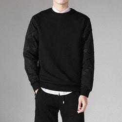 101635 사이드 테이핑라인 맨투맨 티셔츠 (Black)