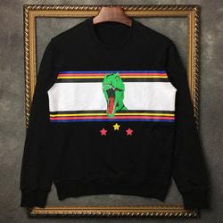 101770 SA 컬러풀 다이노 배색 맨투맨 티셔츠 (Black)