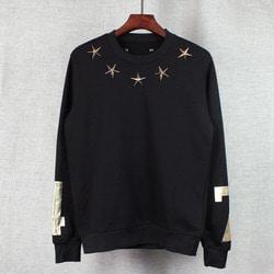 101785 GI 금장 스타 네크라인 넘버 맨투맨 티셔츠 (Black)
