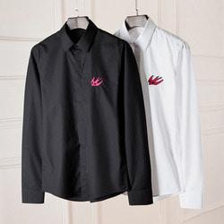101819 AL 미니멀 버드 자수라인 히든 셔츠 (2Color)