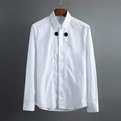 101995 더블 서클 히든버튼 셔츠 (2Color)