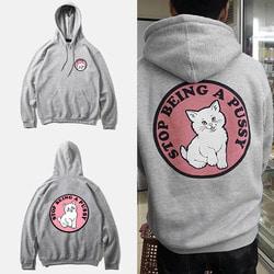 102295 고양이 프린팅 후드 티셔츠 (4Color)