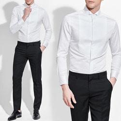 102365 엠보 스트라이프 차이나카라 셔츠 (White)