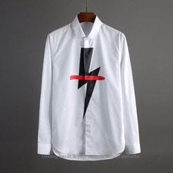 102333 번개 나염 미니멀 셔츠 (White)