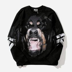 102752 GI 로트와일러 배색 오버핏 맨투맨 티셔츠 (Black)