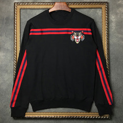 102817 GU 시그니처 테이핑 맨투맨 티셔츠 (Black)