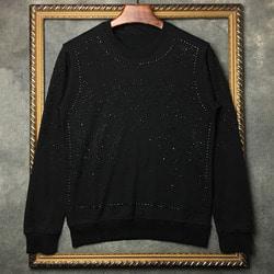 102820 갤럭시 스터드 맨투맨 티셔츠 (Black)