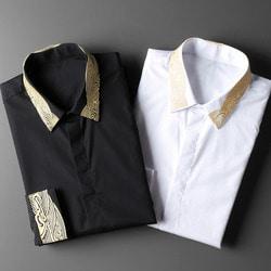 102833 골드 웨이브 자수 셔츠 (2Color)