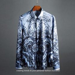 102835 시메트릭 유니크 프린팅 셔츠 (Blue)