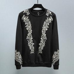 102915 엔틱 아크네 자수 맨투맨 티셔츠 (Black)