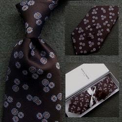 103040 마르코 플로랄 패턴 넥타이 (Brown)