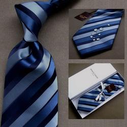 103041 마르코 더블바 스트라이프 넥타이 (Blue)