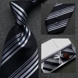 103049 마르코 그라데이션 스트라이프 넥타이 (Black)