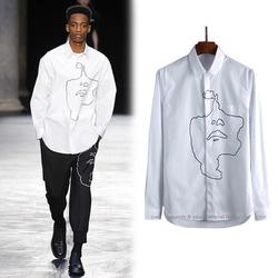 102332 NE 기하학 페이스 페인팅 셔츠 (White)