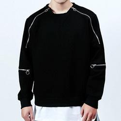 103133 크롭 고리지퍼 맨투맨 티셔츠 (Black)