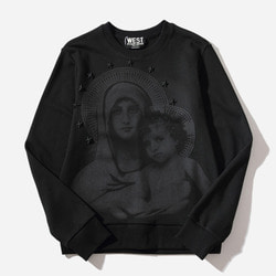 103403 GI 스터드장식 마리아 맨투맨 티셔츠 (Black)