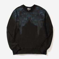103424 시메트릭 페이스 나염 맨투맨 티셔츠 (Black)