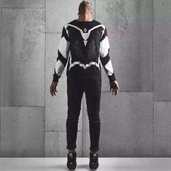 103437 MA 시메트릭패턴 울프 맨투맨 티셔츠 (Black)