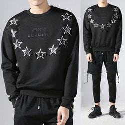 103538 라운드스타 루즈핏 맨투맨 티셔츠 (Black)