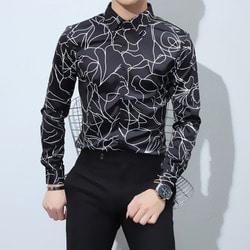 103574 미니멀 기하학 라인 셔츠 (Black)