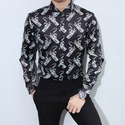 103575 유니크 건클럽 패턴 셔츠 (Black)