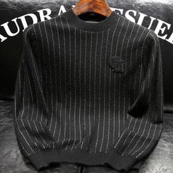 103619 핀스트라이프 비즈장식 패치 니트 (Black)