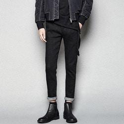 103676 롤업 슬림핏 밴딩 데님 팬츠 (Black)