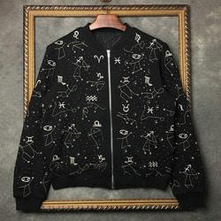 103724 VA 스플렌더 별자리 자수 블루종 점퍼 (Black)