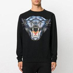 103879 MA 타이거 페이스 오버핏 맨투맨 티셔츠 (Black)