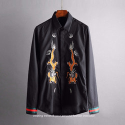 103887 GU 시메트릭 드래곤 히든버튼 셔츠 (Black)