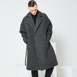 104168 헤링본 벨티드 더블 코트 (Black)