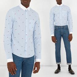 104191 GU 자수도트 핀 스트라이프 셔츠 (Sky Blue)