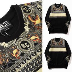 104343 GI 사슬패턴 루즈핏 맨투맨 티셔츠 (Black)
